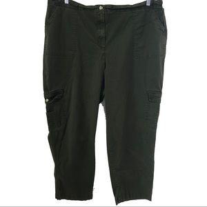 Liz & Me olive green cargo pants, size 26W